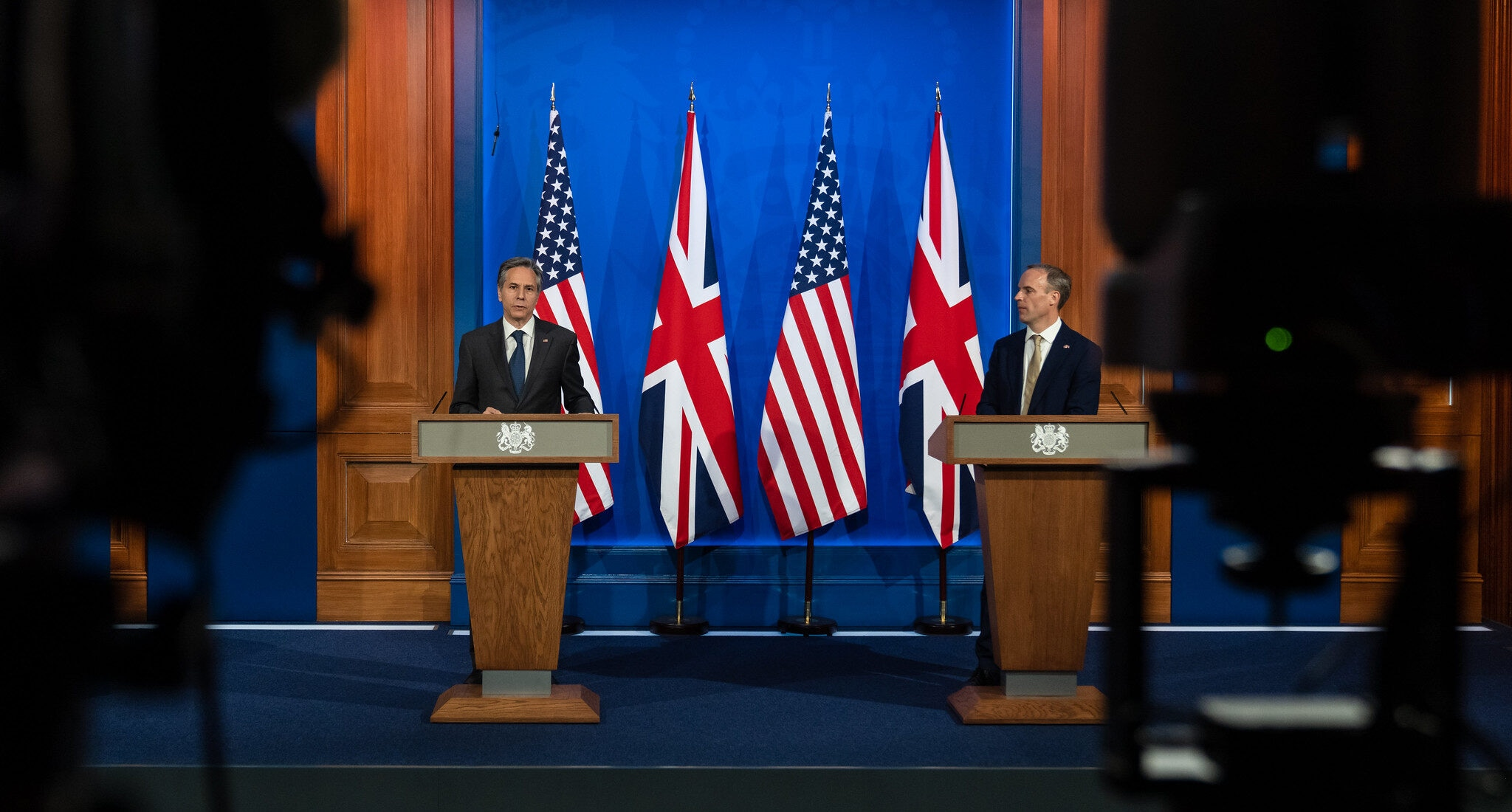 Secretary of State Antony J. Blinken participates in a virtual joint press conference with United Kingdom Foreign Secretary Dominic Raab, in London, United Kingdom, on May 3, 2021. [State Department Photo by Ron Przysucha/ Public Domain]